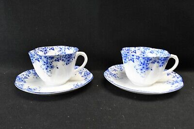 Shelley Dainty Blue Pair of Cups & Saucers England Bone China