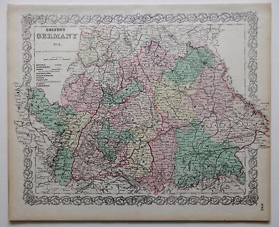 """Vintage Colton Map - Germany [Part 4] - Hand-Colored - 14 X 17"""" - Ca 1870"""