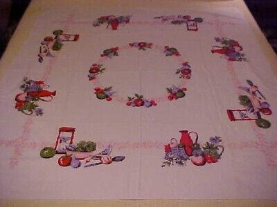 Vintage Printed Tablecloth w/ Purple, Red & Green Fruit & Flower Design