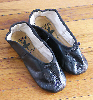 Freed of London black leather ballet slippers, pre-owned, size 1F S, good cond.