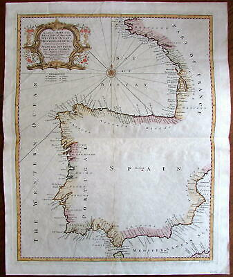Bay of Biscay chart coastal Spain beautiful c1745 Tindal decorative antique map