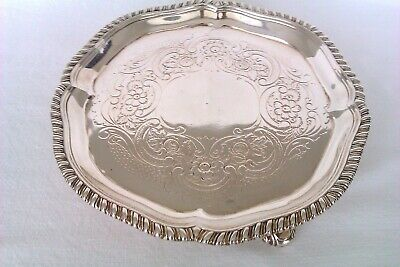 Rare & Beautiful Solid Silver George III Ornate Footed Card Tray 1761  303 Grams