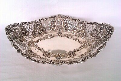 Rare & Beautifully Embossed Lion Head Solid Silver Edwardian Fruit Bowl 1908