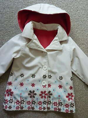 Mothercare baby girls ivory mix floral hoodie rain coat mac age 18-24 months