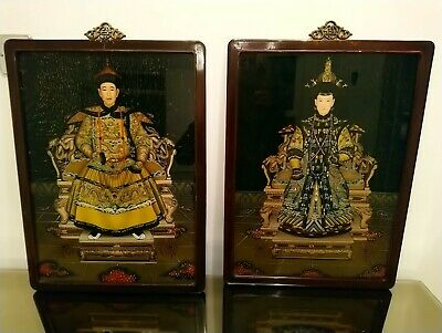 Oriental Stunning Large oriental Reversed Mirror Emperor and Emporess Paintings