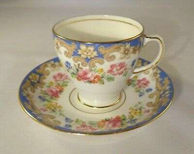 Vintage Sampson Smith Old Royal Bone China Blue Floral Coffee Cup & Saucer VGC