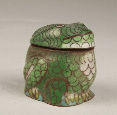 Vintage Chinese Cloisonne Enamel Box Figurines Collection Gift Old Animal Frogs