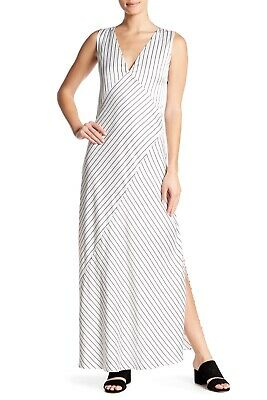 204d67884513 Theory Crushed Satin Stripe Maxi Dress 4 NWT New Long Dresses White Black  Gown
