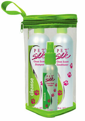 Pet Silk Clean Scent Trio Kit for Dogs 16oz shampoo 16oz conditioner 4oz spray