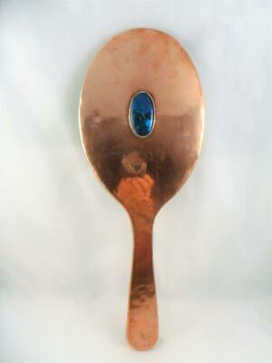 Antique Arts & Crafts / Art Nouveau Copper & Blue Cabochon Hand Mirror c1890