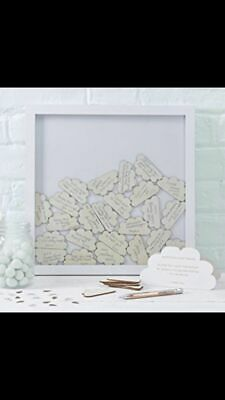 Ginger Ray Drop Top Wooden Cloud Guest Book Frame 37x37cm Wedding Christening