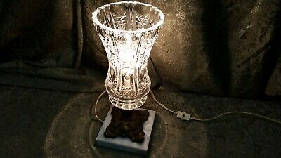 Vintage Brass Marble Depression Cut Glass Victorian Style Vanity Lamp