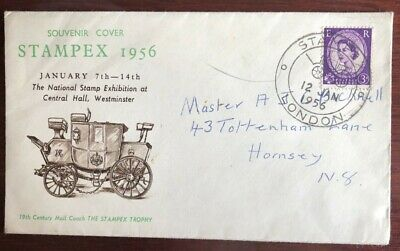 Souvenir Cover Stampex 1956 National Stamp Exhibition Westminster 12 Jan 1956