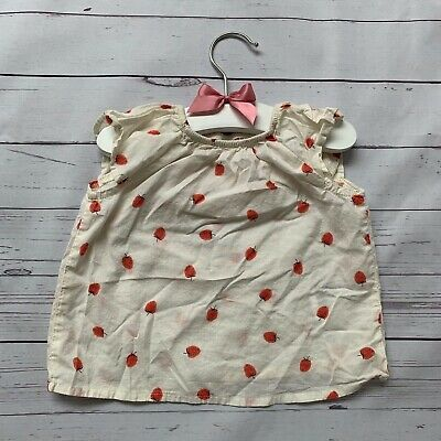 Baby Girls 3-6 Months - Blouse Top - H&M White Strawberry 100% Cotton Summer