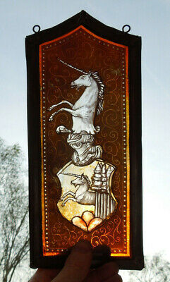 Interesting Stained Glass Unicorn Heraldry Medieval Victorian Decorative