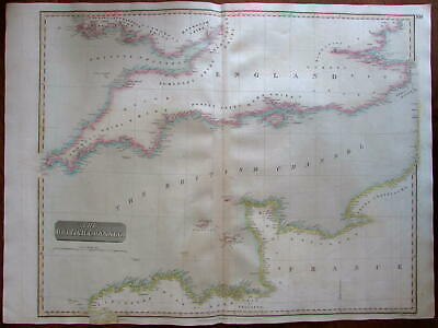 British (English) Channel 1814 Thomson engraved oversize antique map
