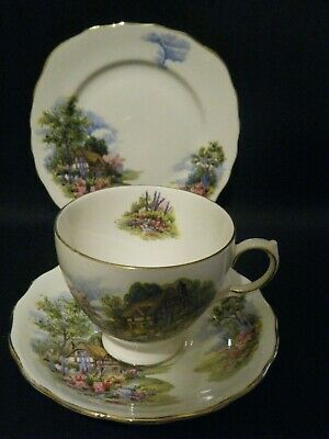 Royal Vale Vintage Country Cottage Garden Tea Cup, Saucer and Plate Trio