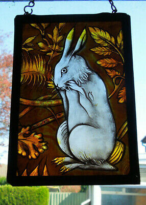 Interesting Stained Glass Easter Bunny Rabbit Hare Medieval Victorian Decorative