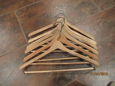 Lot Of 6 Wood Wooden Suit Pants Coat Clothes Hangers