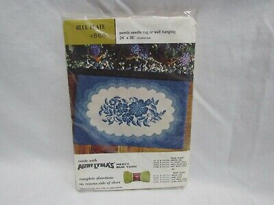 Aunt Lydia's Heavy Rug Yarn Punch Needle Pattern Canvas  #666 Blue Plate (4D1)