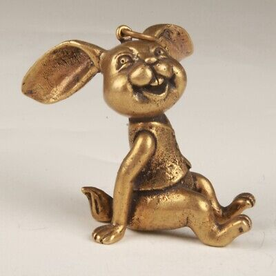 Unique Chinese Bronze Statue Pendant Animal Rabbit Solid Home Collection Gift