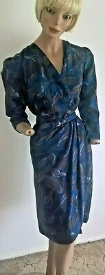 Handmade Vintage 80's After 5 Feather Pattern Dress with Matching Belt Size 12/M