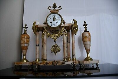 Antique French Ormolu Portico Clock garniture Bonnet & Pottier, Paris 19th C