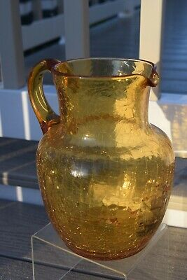 Vintage Crackle Glaze Glass Jug. Hand Blown. Amber colour with Galleon ship.