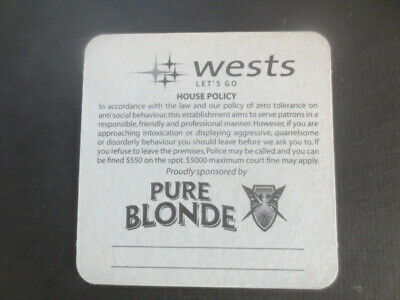 1 only PURE BLONDE Lager / WESTS Leagues Club ,New South Wales, COASTER
