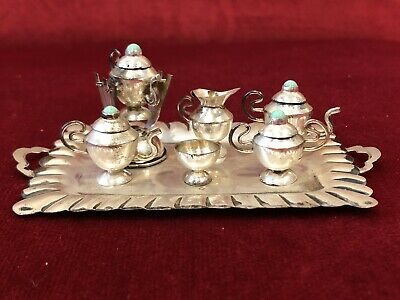 Charming Vintage Mexican Sterling Silver & Turquoise Miniature Tea Set