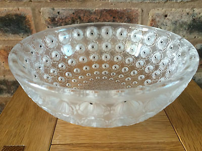 Stunning Rene Lalique Nemours Patterned Coupe Glass Bowl First Designed In 1929