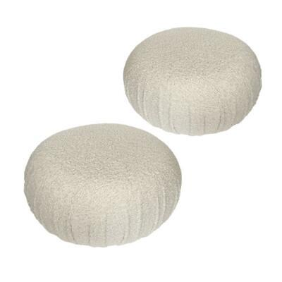 Pair of Faux Shearling Souffle Pouf Ottomans Mid Century Modern