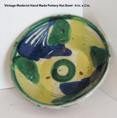 Vintage ART & CRAFTS Hand Made Pottery Nut Bowl - 6 in. x 2 in.