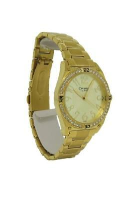 Caravelle by Bulova 44L109 Women's Round Analog Gold Tone Clear Stones Watch