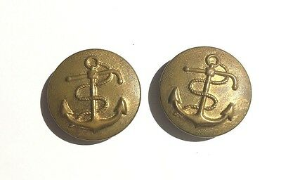 Antique United States Navy Uniform Buttons - Goldtone Metal 7/8""