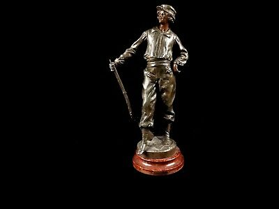 Spelter Sculpture of Target Shooter w/ Rifle signed French Artist Louis Moreau