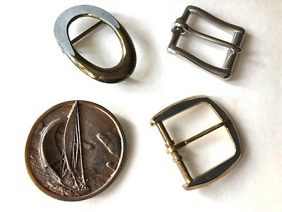 Lot 4 Vintage Belt Buckles - Sailboat Copper over Brass, Goldtone & Silvertone
