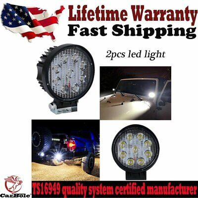 """2x 27W 5"""" Flood Round LED Offroad Light Bar Car for 4WD 4X4 SUV Truck ATV UTE US"""