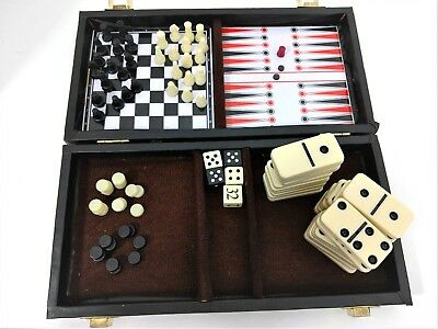 Compact Travel Game Set In Box 4 Games Checkers Chess Dominos Backgammon