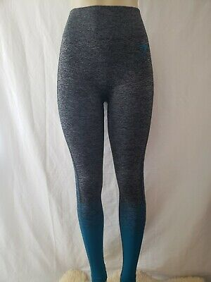 f7264b87d00391 New no tags, Gymshark ombre Amplify Seamless Leggings Black Marl/Deep Teal  Small