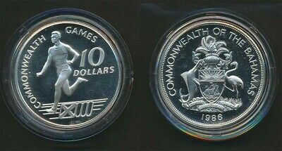 Bahamas: 1986 Scotland Commonwealth Game $10 Silver Crown, Runner