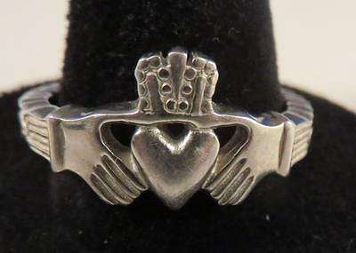 sr457 Plain Solid .925 Sterling Silver Claddagh /& Celtic Knot Ring