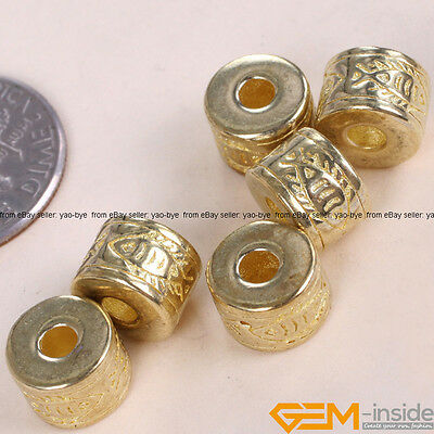 Tibetan Silver Antique Column Spacer Beads Gold Plated Craft Findings 8x6mm