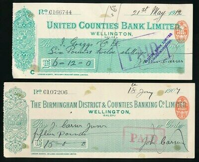 "Great Britain: United Counties Bank 1907-12 ""LOT OF 2 CHEQUES"" + Duty Stamps"