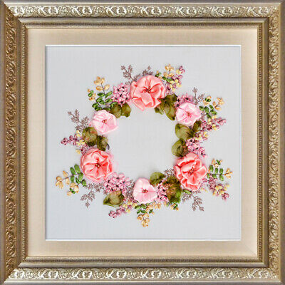 Spring Wreath ribbon embroidery DIY kit 3d dimensional flowers embroidery hobby