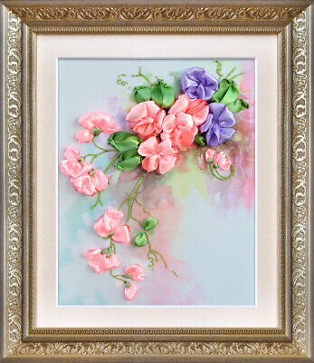 Sweet Pea ribbon embroidery DIY kit 3d dimensional flowers embroidery hobby