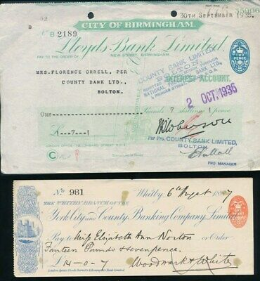 "Great Britain: York City & County + Lloyds 1887-1972 ""5 CHEQUES"" + Duty Stamps"