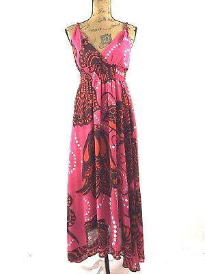 26d7fc906f1bd Aryeh Dress Med Long Maxi Smocked Empire Twist White Black Pink Polka Dot  Tier