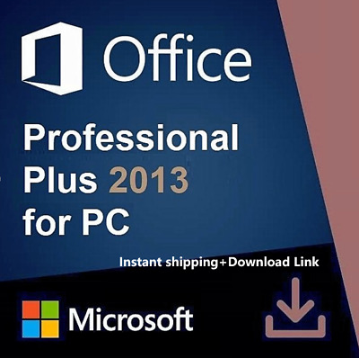 MS Office 2013 Pro Plus License Product Key 1 PC/32/64 bits Instant Shipping