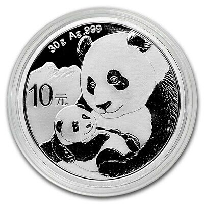 2019 China 30 g Silver Panda ¥10 Coin GEM BU New In Coin Capsule